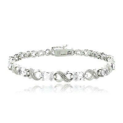 6.6ct White Topaz & Diamond Accent Infinity Bracelet 7.5 in Brass