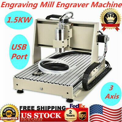 Usb 3 Axis Cnc 6040 Router Engraving Mill Engraver Machine Metal Wood Cut 1.5kw