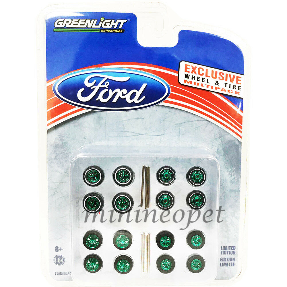 GREENLIGHT 13166 HOBBY EXCLUSIVE WHEELS AND TIRES PACK SET 1/64 FORD GREEN Chase