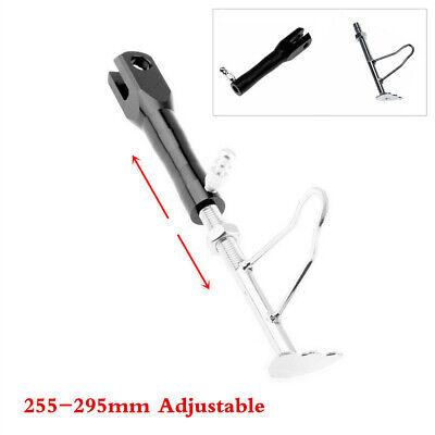 Motorcycle Retractable Kickstand Black Aluminum Alloy Side Stand Adjustable Leg