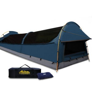 Weisshorn XXL King Single Camping Swag Canvas Tent Dark Blue