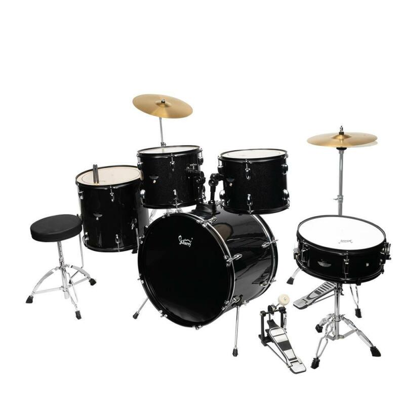 5 Piece Full Size Complete Adult Drum Set Cymbals Kit with Stool & Sticks Black