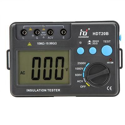 Hdt20b Lcd Digital Insulation Resistance Tester Megger Megohmmeter Meter 2500v