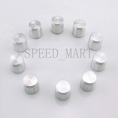 10pcs Aluminum Knobs Rotary Switch Potentiometer Volume Control Pointer Hole 6mm