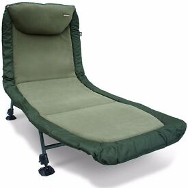 Brand New Carp Fishing Classic Bedchair with Recliner - Micro Fleece Fabric