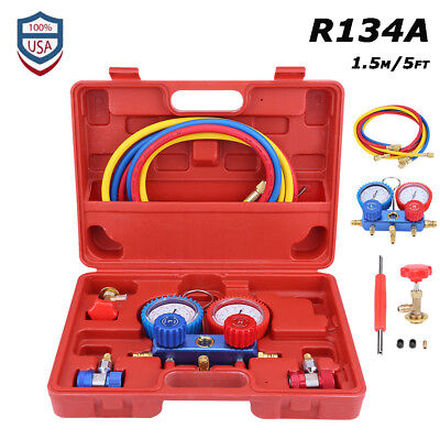 New R134a Hvac Ac Dual Manifold Gauges Valve Set With Red Plastic Case Us Stock