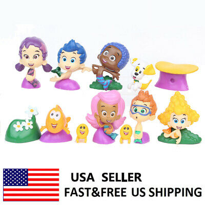 Bubble Guppies Gil Molly Nonny Vinyl Action Figure Toys Kids Xmas Gifts 12 PCS  (Bubble Guppie Toys)