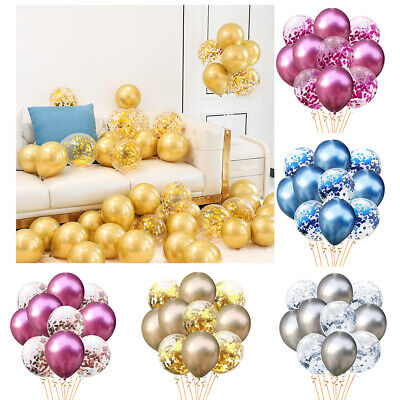 50 Birthday Decorations (25/50PC  Chrome Confetti Balloons Bouquet Birthday Party Decor Metallic)
