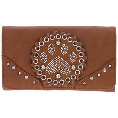 (Paw print  bling brown  wallet women snap closure 7 card slot 2 cash slots)