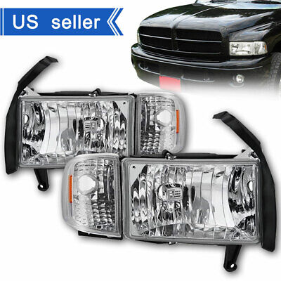 For 94-01 Dodge Ram 1500 2500 3500 Pickup Chrome Pair Headlights+Corner Lamps