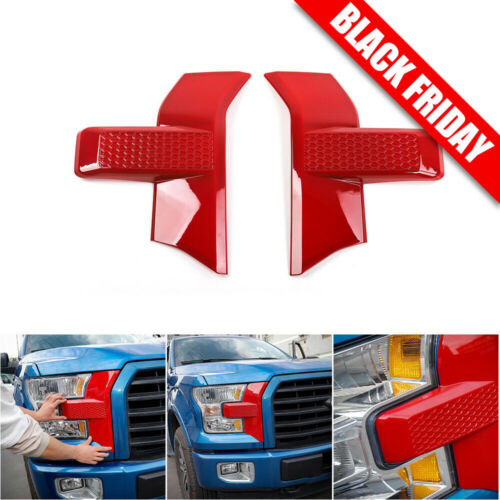 For Ford F150 2015+ Car Front Bumper Headlight Grille Cover Trim Accessories Red