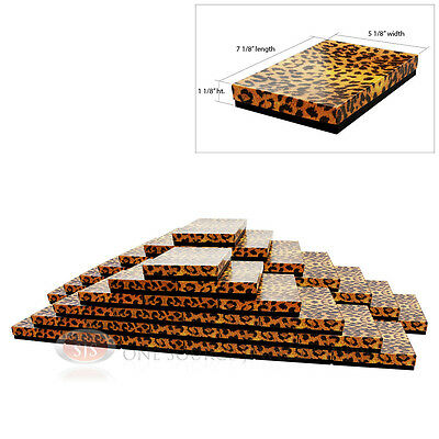 50 Leopard Print Cotton Filled Jewelry Gift Boxes 7 18 X 5 18 X 1 18h