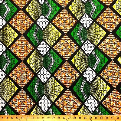 African Print Fabric 100% Cotton 44'' wide sold by the yard Polygon (90104-2)