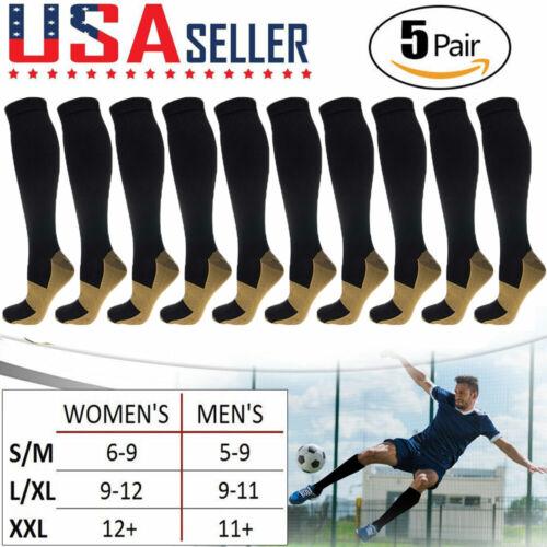 5 Pairs Copper Compression Socks 20-30mmHg Graduated Support Mens Womens S/M-XXL