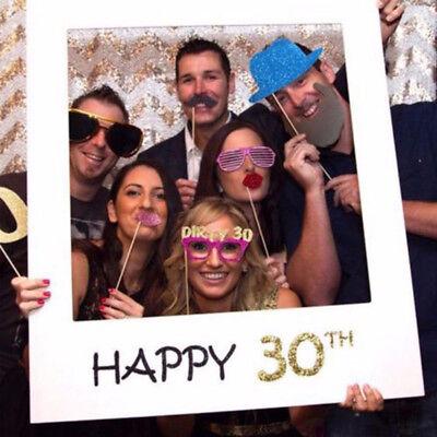 16-80th Birthday Paper Photframes Take Photo Props Happy Birthday Party - 80 Birthday Supplies