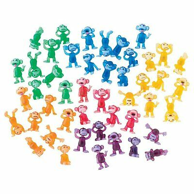 100 TINY FUNNY PLASTIC MONKEY FIGURES CUPCAKE TOPPERS SMALL PARTY MONKEYN AROUND