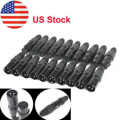 20pcs XLR DMX 3 Pin Male&Female MIC Snake Plug Audio Microphone Cable Connector