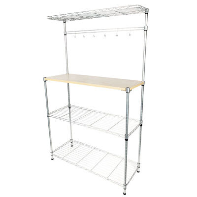 4-Tier Kitchen Bakers Rack Home Dining Microwave Stand Storage Shelf Workstation