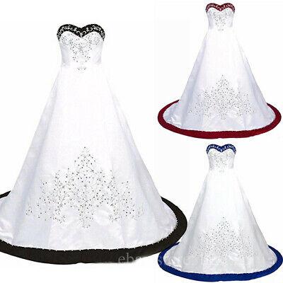 Schwarz und Weiß Stickerei Brautkleider Vintage Herzenform Satin Brautkleider ()