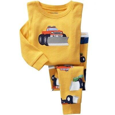 Bulldozer pattern Boys pajamas Long-sleeved trousers set 2T-7T cozy - Boys Long Sleeved Pajama Set