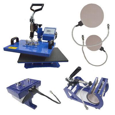 5in1 Digital Heat Press Machine Sublimation For T-shirt Mug Plate Hat Print Blue