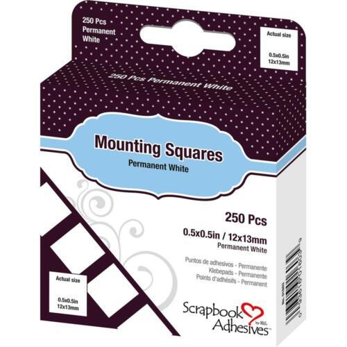 "3L Scrapbook Adhesives Mounting Squares White 1/2"" 250/box permanent"