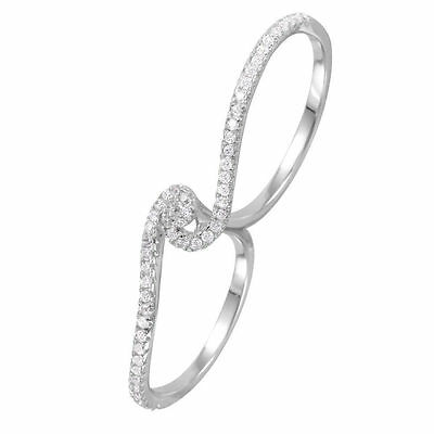 FINE 925 STERLING SILVER DESIGNER TWO FINGER RING W/ 1 CT DIAMONDS /sz 8,9