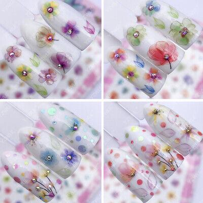 3d Nail (3D Nail Art Nagel Sticker Aufkleber * Blumen Blätter * XXL Bogen F021-24)
