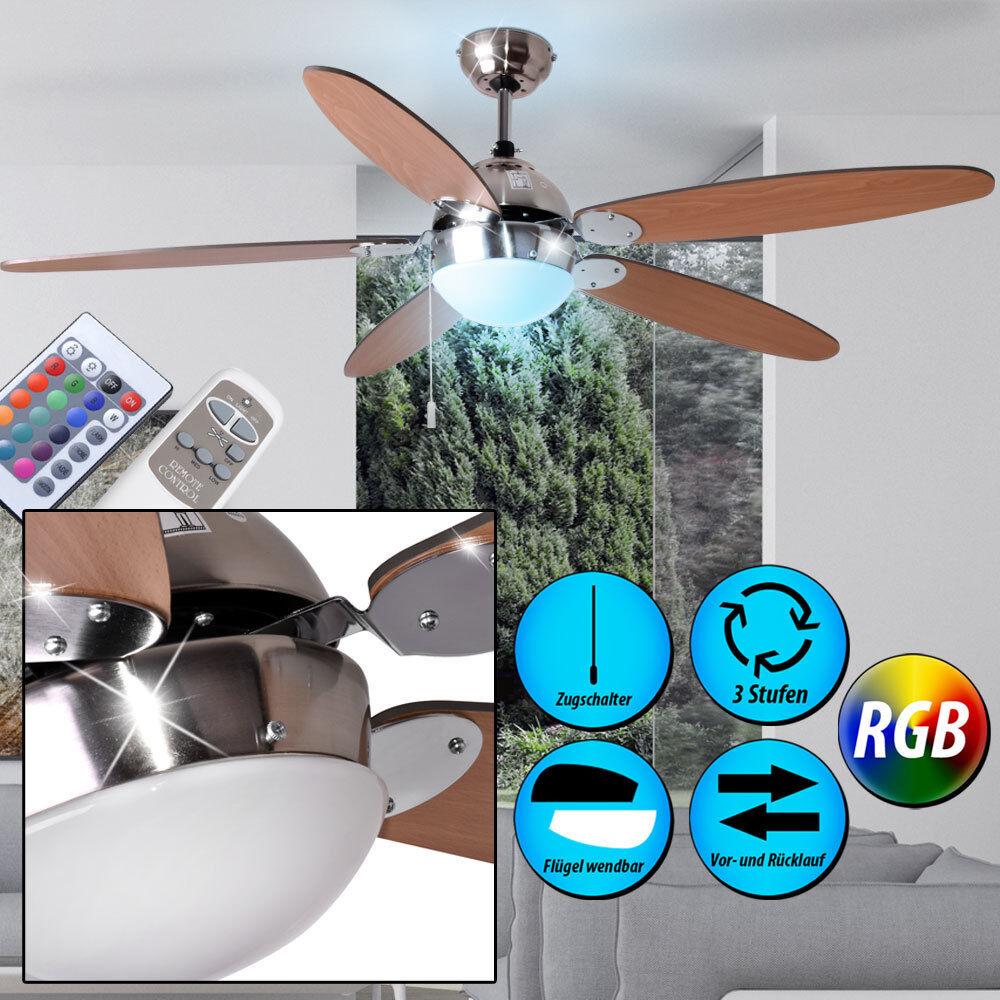 LED Decken-Ventilator LEISER Lüfter 132 cm mit Fernbedienung RGB Lampe Dimmbar