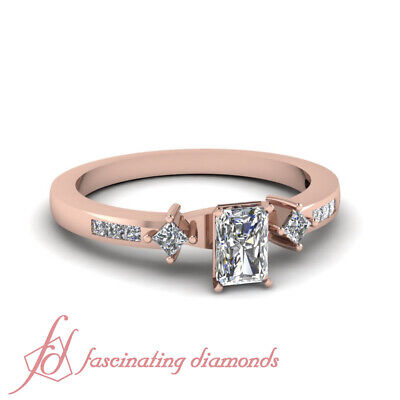 .60 Ct Rose Gold Radiant Cut Diamond Ring With Channel Set Princess Cuts GIA