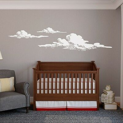 Clouds Nature Sky Cloudy Wall Decal Weather Atmosphere Vinyl Art Bedroom Decor