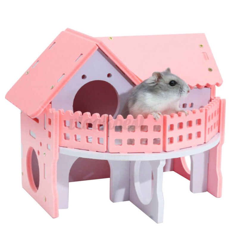 Hamster Sleeping Small House Colorful Squirrel Chinchilla Mini Villa Toy Pink US
