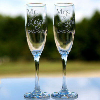 2 Etched Engraved Personalized Mr. and Mrs. Champagne Flute Glasses Wedding Gift - Personalized Champagne Glasses