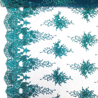 Teal Bridal Spirit floral Lace Sequins Beaded Scallop Fabric for Dresses 52