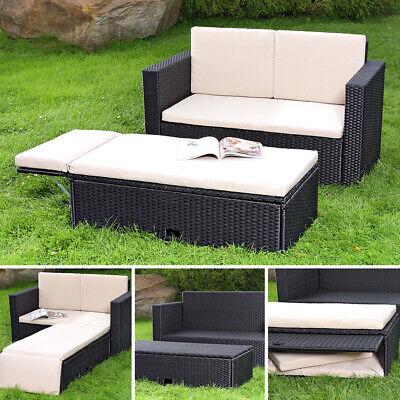 Polyrattan Gartensofa und klappbare Fußbank Lounge Sessel Gartenmöbel schwarz