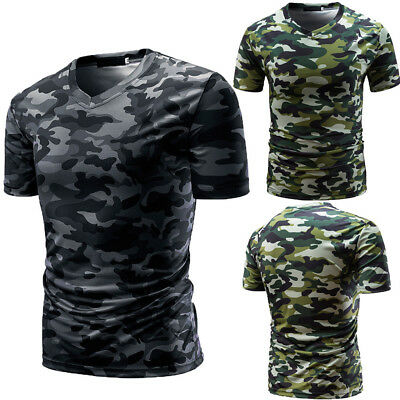 Camouflage Print T-shirt (Hot Men's Casual Camouflage Print V Neck Pullover Beach Short T-shirt Top Blouse )