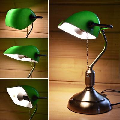 Vintage Schreib Tisch Lampe BANKER Stil Büro Lese Leuchte Glas Schirm grün RETRO - Glasschirm Tischlampe