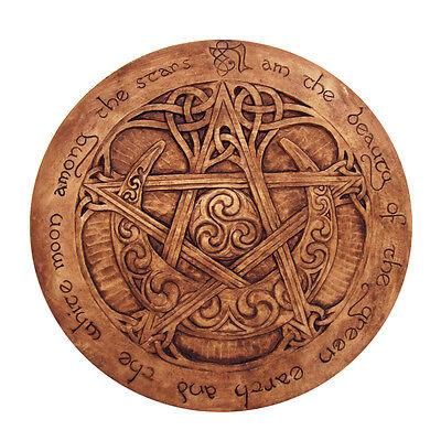 Large Moon Pentacle Plaque - Wood Finish - Dryad Designs Pagan Wicca Pentagram