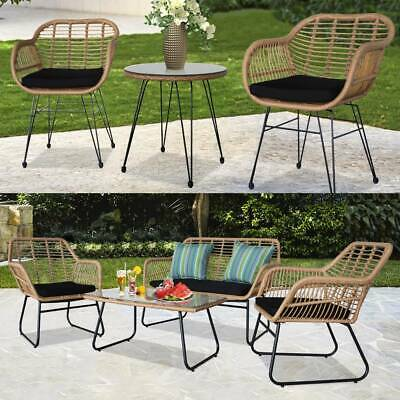 Garden Furniture - 3Pcs /4 Pieces  Bistro Set Rattan Garden Patio Table and Chair Seating Furniture