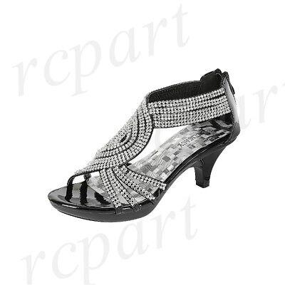 Wedding Evening Shoes - New women's shoes evening rhinestones back zipper med heel wedding prom Black