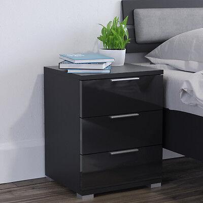 Nachtschrank kommode nachttisch schublade ablage schlafzimmer schwarz hochglanz wohndesign - Ablage schlafzimmer ...