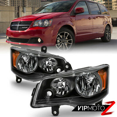 11-17 Dodge Grand Caravan 08-16 Chrysler Town&Country Black Amber Headlight Lamp