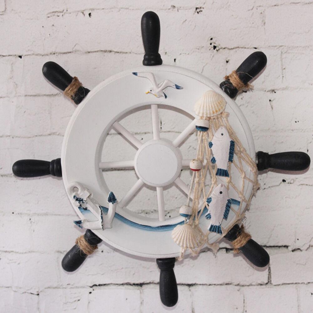 Timone Barca Decorativo In Legno Decorazione Casa Arredamento Mare 33x33cm moc