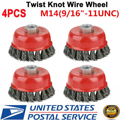 4 Pcs Set 3 M14 Derusting Knotted Wire Abrasive Cup Brush For Angle Grinders