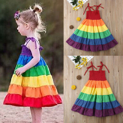 US Toddler Baby Girl Clothes Strap Princess Party Tutu Dress Rainbow Sundress SE](Baby Girl Rainbow Dress)