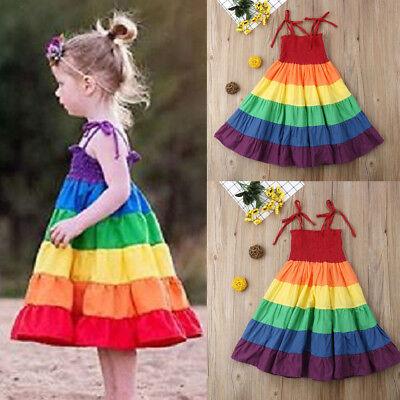 USA Toddler Baby Girls Clothes Strap Princess Party Tutu Dress Rainbow - Rainbow Girls Clothes