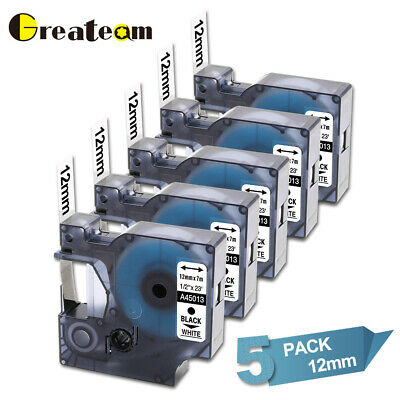 5 Pk 45013 Label Tape Compatible For Dymo Labelmanager Black On White 12mm