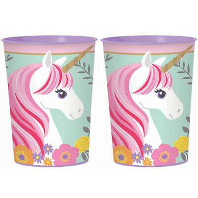 MAGICAL UNICORN REUSABLE KEEPSAKE CUPS (2) ~ Birthday Party Supplies Favors Pink](Pink Cups)