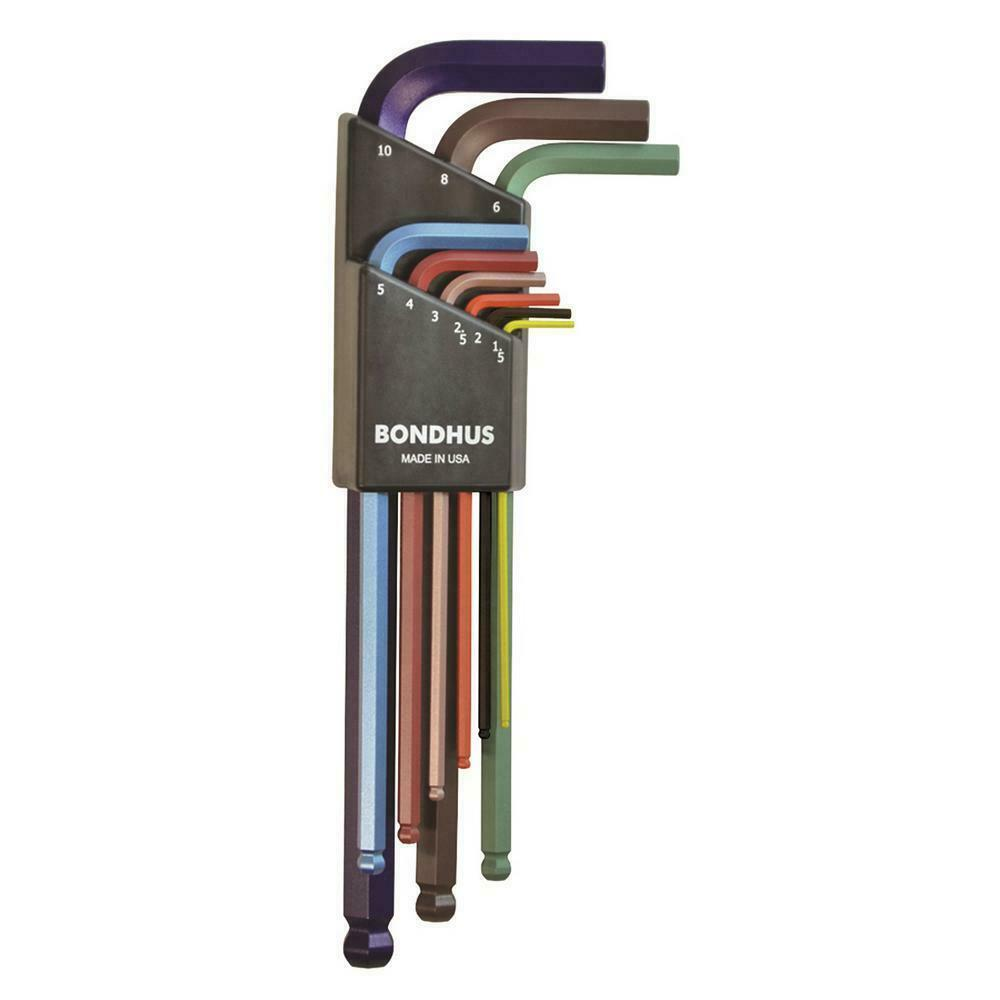 Bondhus 69499 Ball End L-Wrench Set with ColorGuard Finish