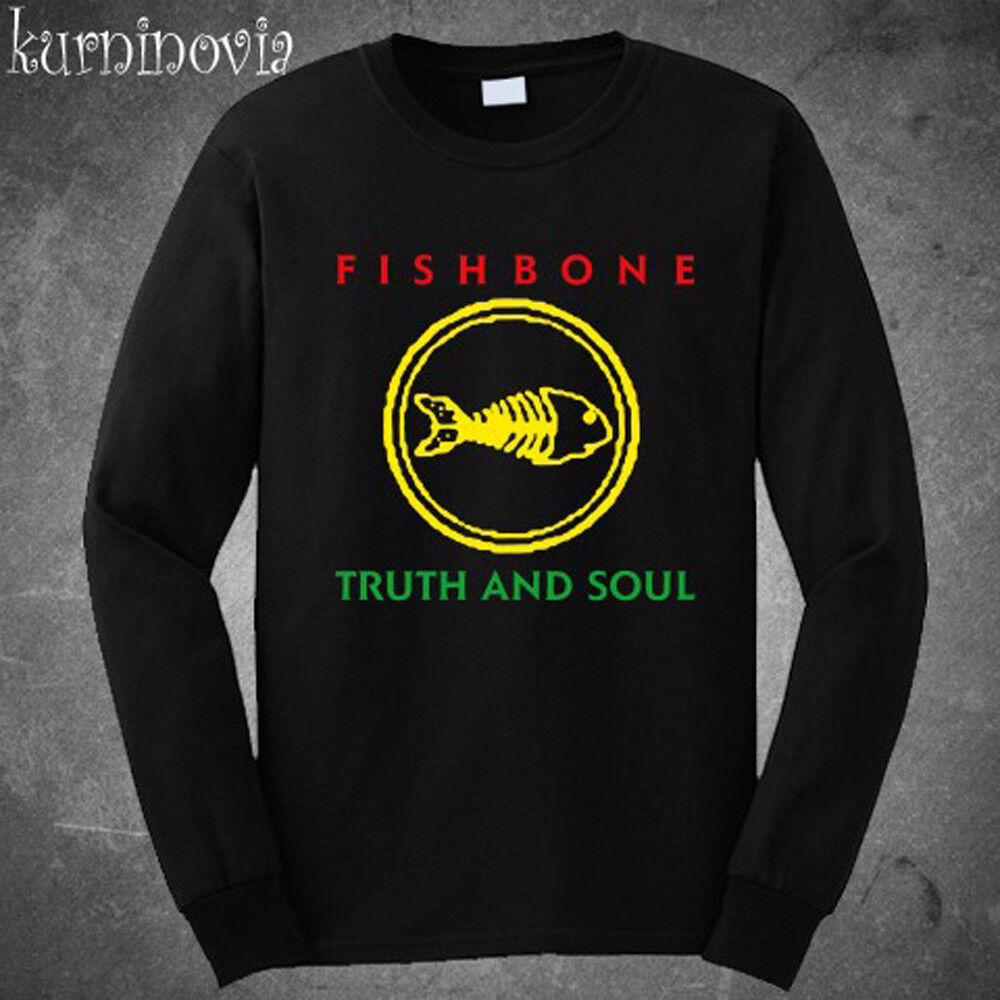 Fishbone Truth and Soul Logo Rock Band Long Sleeve Black T-Shirt Size S to 3XL